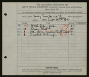 Entry card for Trenkamp, Henry Jr. for the 1924 May Show.