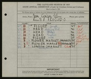 Entry card for Ulen, Jean Grigor for the 1924 May Show.
