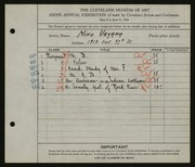 Entry card for Vayana, Nino for the 1924 May Show.
