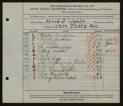 Entry card for Wands, Alfred J. for the 1924 May Show.