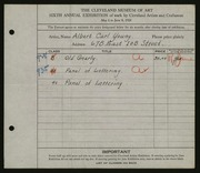 Entry card for Young, Albert Carl for the 1924 May Show.