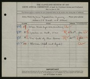Entry card for Reuscher, Alice L. for the 1924 May Show.