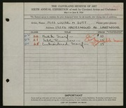 Entry card for Zutt, Louise M. for the 1924 May Show.