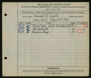 Entry card for Austin, Howard B. for the 1925 May Show.