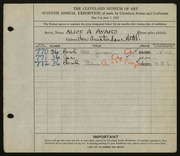 Entry card for Ayars, Alice A. for the 1925 May Show.