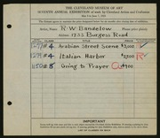 Entry card for Bandelow, R. W. for the 1925 May Show.