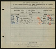 Entry card for Beckwith, Ada Bell for the 1925 May Show.