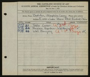 Entry card for Beduhn, Josephine Laney for the 1925 May Show.