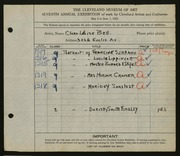 Entry card for Bell, Clara  for the 1925 May Show.