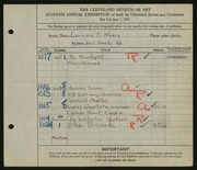 Entry card for Blazey, Lawrence for the 1925 May Show.