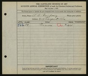 Entry card for Bonfoey, A. D. for the 1925 May Show.
