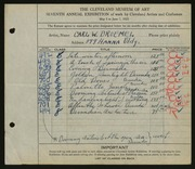 Entry card for Broemel, Carl William for the 1925 May Show.