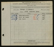 Entry card for Brooks, Arthur D. for the 1925 May Show.