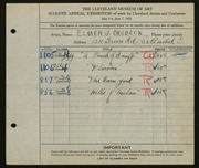 Entry card for Brubeck, Elmer J. for the 1925 May Show.