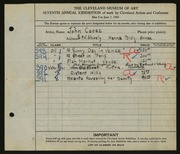 Entry card for Csosz, John for the 1925 May Show.