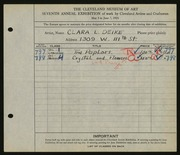 Entry card for Deike, Clara L. for the 1925 May Show.