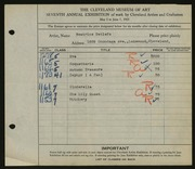 Entry card for Detlefs, Beatrice for the 1925 May Show.