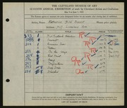 Entry card for Eckert, Katharine Bird for the 1925 May Show.
