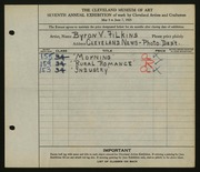 Entry card for Filkins, Byron V. for the 1925 May Show.