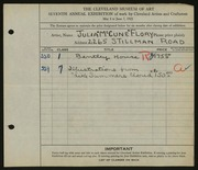 Entry card for Flory, Julia McCune for the 1925 May Show.