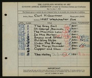 Entry card for Gaertner, Carl Frederick for the 1925 May Show.
