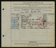 Entry card for Gellert, Emery for the 1925 May Show.