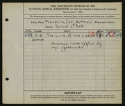 Entry card for Gottwald, Frederick Carl, and Cleveland School of Art for the 1925 May Show.