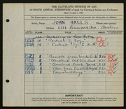 Entry card for Halls, John for the 1925 May Show.