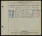 Entry card for Herrick, Josephine Ursula for the 1925 May Show.