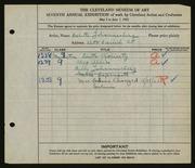 Entry card for Johannesberg, Babette for the 1925 May Show.