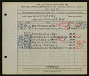 Entry card for Kelly, Grace Veronica for the 1925 May Show.