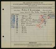 Entry card for Konersman, Robert for the 1925 May Show.
