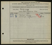 Entry card for Long, Elizabeth French for the 1925 May Show.