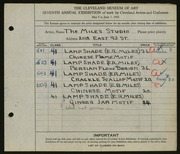 Entry card for Miles Studio, and Miles, Elizabeth B.; Miles, Eugene R. for the 1925 May Show.