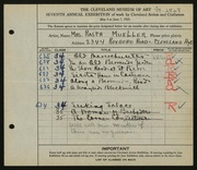 Entry card for Mueller, Mrs. Ralph S. for the 1925 May Show.