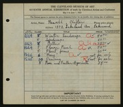 Entry card for Newell, Clifton for the 1925 May Show.