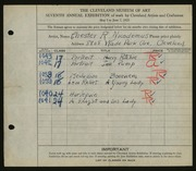Entry card for Nicodemus, Chester Roland for the 1925 May Show.