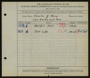 Entry card for Novy, Charles J. for the 1925 May Show.