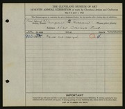 Entry card for Parkhurst, Margaret B. for the 1925 May Show.
