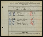 Entry card for Riggins, Marie for the 1925 May Show.