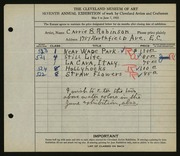 Entry card for Robinson, Carrie B. for the 1925 May Show.