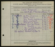 Entry card for McClean, Clara for the 1925 May Show.