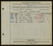 Entry card for Seaver, Hugh for the 1925 May Show.