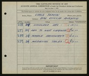 Entry card for Semon, Carle Edwin for the 1925 May Show.