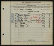 Entry card for Shively, Paul for the 1925 May Show.