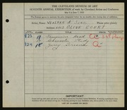 Entry card for Sinz, Walter A. for the 1925 May Show.