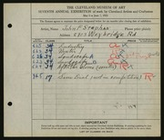 Entry card for Stephan, John F. for the 1925 May Show.