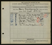 Entry card for Trenkamp, Henry Jr. for the 1925 May Show.