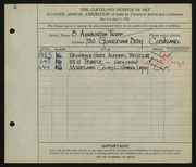 Entry card for Tripp, B. Ashburton for the 1925 May Show.