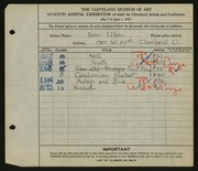 Entry card for Ulen, Jean Grigor for the 1925 May Show.